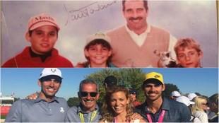 Rafael Cabrera-Bello y sus hermanos Emma y Miguel, junto a Sam...