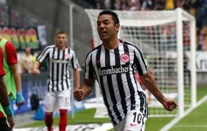 Marco Fabi�n celebra un gol con el Eintracht.