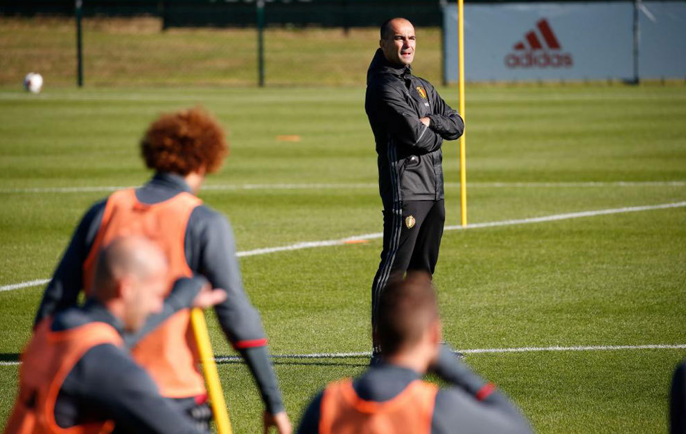 Roberto Martínez, durante el entrenamiento de Bélgica.