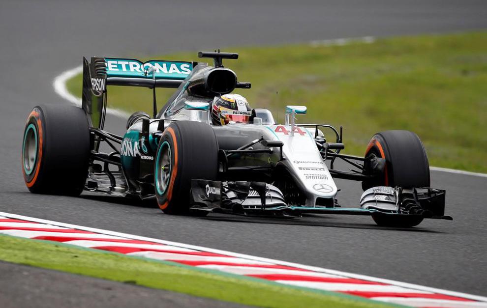 Hamilton, durante en Gran Premio de Japón.