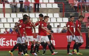 Los jugadores del N�stic celebran el gol ante el Sevilla Atl�tico