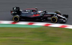 Alonso, durante los entrenamientos libres del GP de Japón.