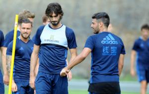 Carlos Mart�nez durante una sesi�n de entrenamiento con la Real...