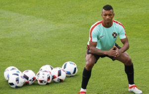 Luis Nani en un entrenamiento con la selecci�n portuguesa.