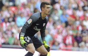 Kepa Arrizabalaga durante un partido con el Athletic.