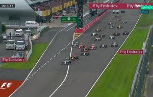 Salida del GP de Jap�n, con Hamilton perdiendo puestos por la...