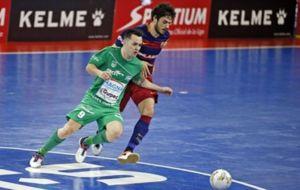 Dani Saldise, en un partido ante el Barcelona.