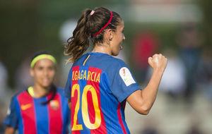 Olga Garc�a, jugadora del Barcelona, celebra un gol esta temporada.