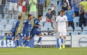 Faurlin celebra con Stefan y �lvaro el segundo gol del Getafe