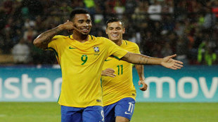 Gabriel Jesus celebra su gol a Venezuela.