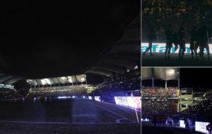 Los focos del estadio fallaron en una noche lluviosa en M�rida.