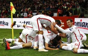 La selecci�n alemana celebrando un gol durante el �ltimo partido...