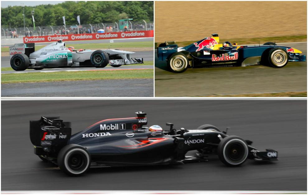 El Mercedes W02 de 2011, el Red Bull RB2 de 2006 y el McLaren MP4-31...