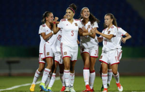 Natalia Ramos celebra el primer gol espa�ol ante Alemania.