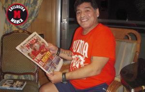 Maradona posa para MARCA en la entrevista exclusiva con este diario