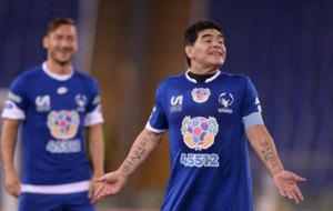 Maradona, durante el Partido por la Paz.