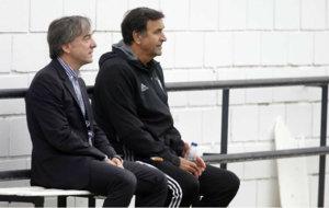 Pitarch y Alesanco, durante el partidillo entre el primer equipo y el...