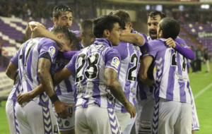 Los jugdores Valladolid celebran uno de los goles de Copa del Rey