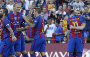 Alegr�a de Messi y Neymar