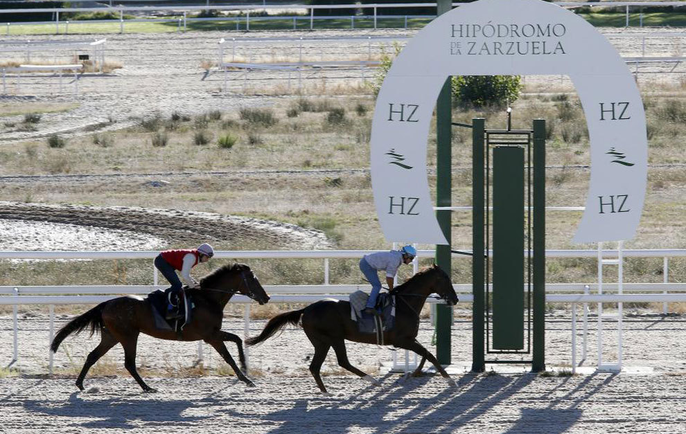 Dos jinetes entrenándose en el Hipódromo de la Zarzuela.