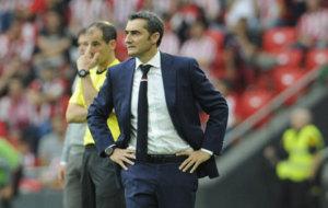 Valverde, durante el derbi.