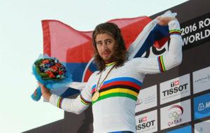 Peter Sagan, nuevamente en el podio del Mundial, como hace un a�o en...