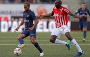 Lucas Moura, en un partido del PSG.
