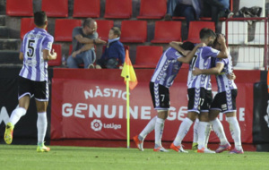 Los jugadores del Valladolid celebrando el gol de Juan Villar