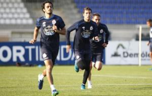 Los jugadores del Deportivo durante uno de sus entrenamientos.
