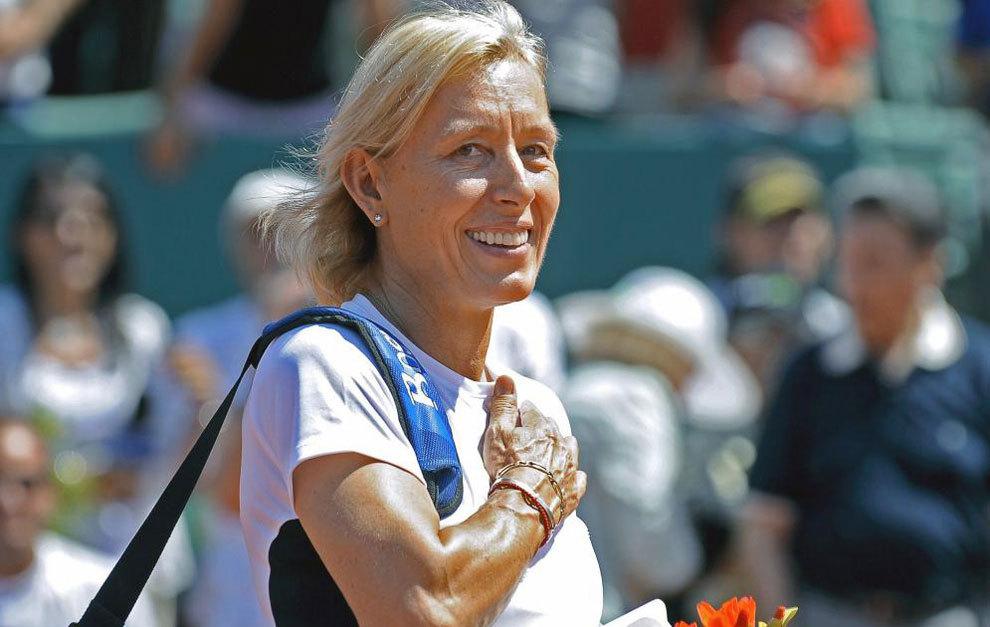 Martina Navratilova durante un partido de exhibición.