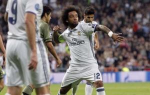 Marcelo celebra su gol.