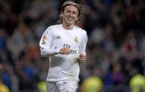 Modric celebra un gol con el Real Madrid.