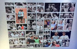 Cuadro de fotograf�as de los enfrentamientos entre Nadal y Federer.