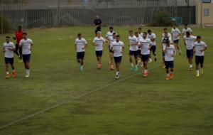 Los jugadores del M�laga CF en uno de sus entrenamientos.