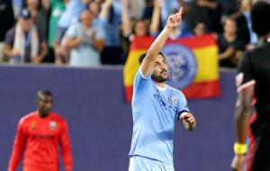 As� celebra Villa un gol con el New York City.