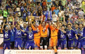 El Inter Moviestar levantando el t�tulo en el pabell�n Quijote Arena...