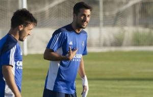 Jorge Casado durante un entrenamiento con el Real Zaragoza.