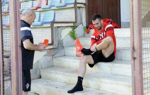 Arbilla durante un entrenamiento del Eibar.
