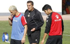Piti, Sandoval y Miku, durante un entrenamiento del Rayo de este año.