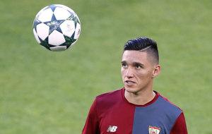 Kranevitter, durante un entrenamiento del Sevilla.