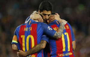 La MSN festeja un tanto ante el Manchester City esta semana.