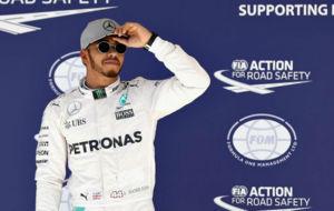 Hamilton, tras conseguir la 'pole' en el GP de EEUU.