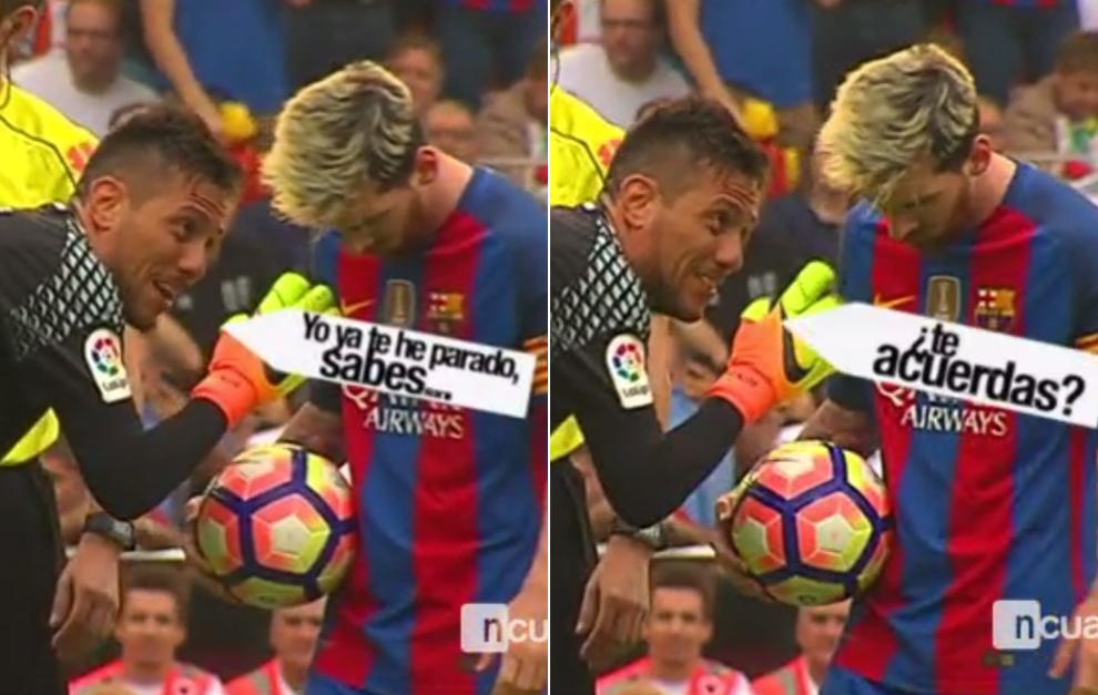Diego Alves bicara ke Lionel Messi