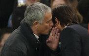 Mourinho charla con Conte despu�s del partido.