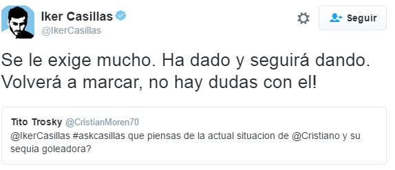 Iker Casillas muestra su confianza en Cristiano