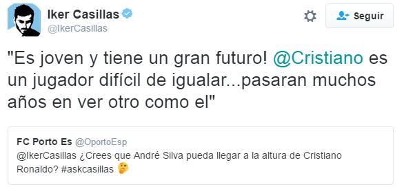 Iker Casillas sobre su compañero André Silva