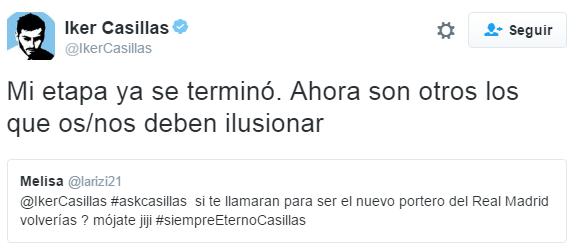 Casillas cierra las puertas a una posible vuelta al Madrid