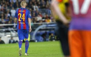 Mathieu, durante el partido contra el Manchester City.