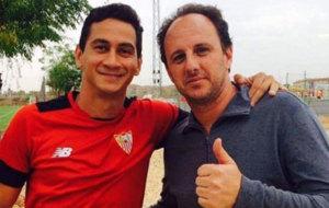 Ganso y Rogerio Ceni, en la Ciudad Deportiva Jos� Ram�n Cisneros.