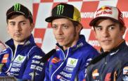 Lorenzo, Rossi y M�rquez, durante una rueda de prensa de 2015.